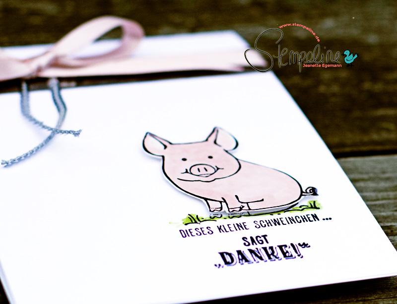 Kartenausschnitt Glücksschweinchen von Stampin' Up!