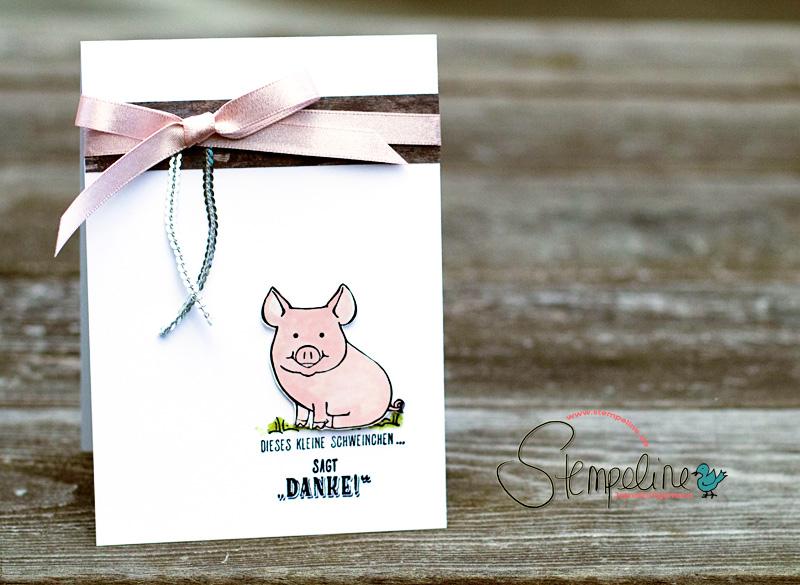 Karte mit Glücksschweinchen von Stampin' Up!