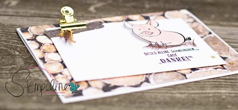 liegende Karte mit Stampin' Up! Glücksschweinchen