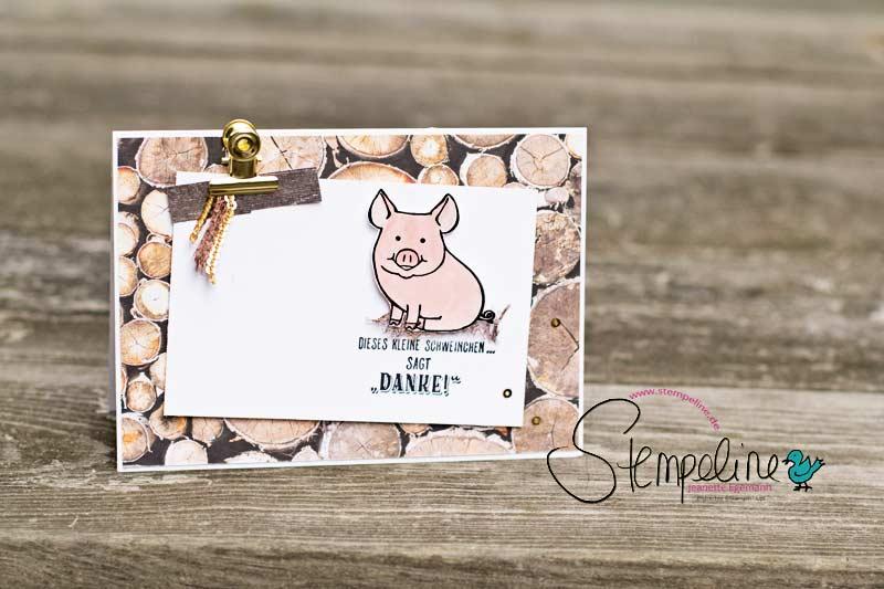 Danke Karte mit Glücksschweinchen von Stampin' Up!