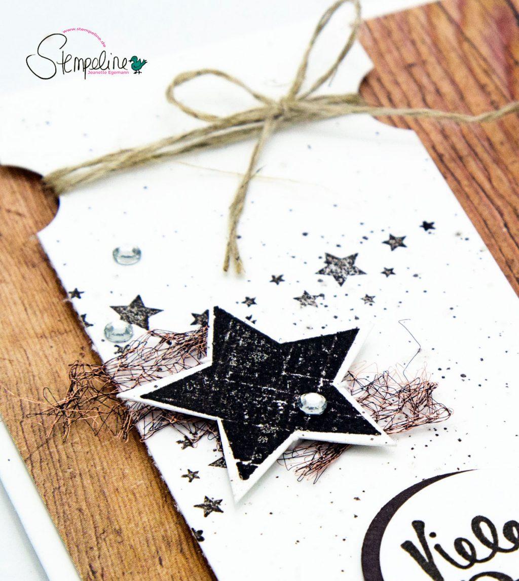 Rustikale Karte in Holzoptik mit Sternen und Materialien von Stampin Up