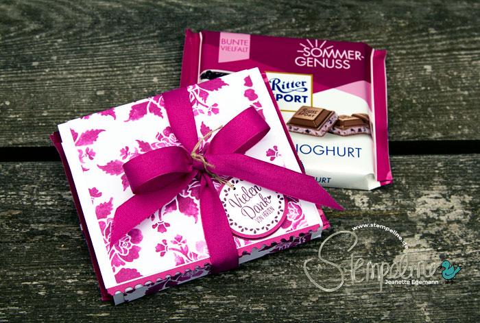 Ritter Sport Geschenkverpackung mit den Produkten von Stampin' Up!