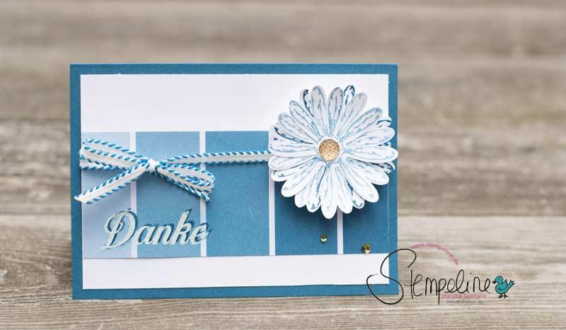 Karte Stampin' Up! Gänseblümchen mit Danke Schriftzug gestempelt
