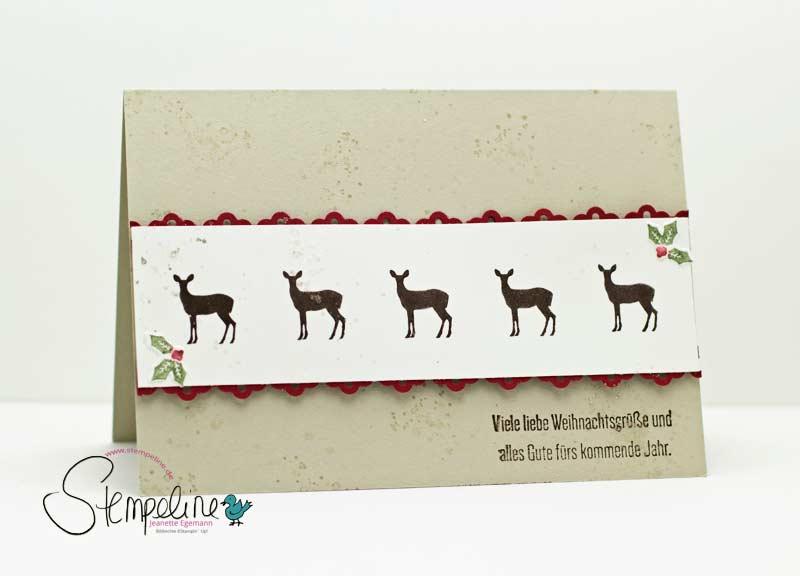 Weihnachtskarten mit Rentieren und Stempelset Wie ein Weihnachtslied von Stampin' Up!
