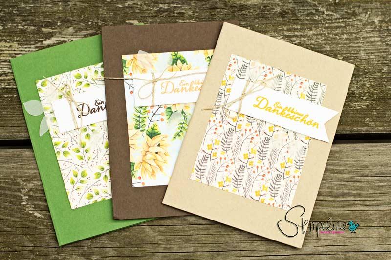 Karten Herbstanfang mit Stampin' Up! Designerpapier