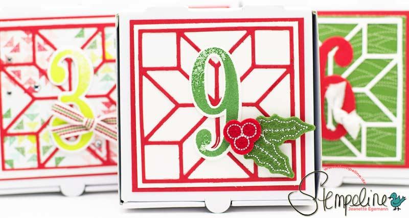 12 Sonntage bis Weihnachten, Adventskalender mit Framelits Quilt und Mini-Pizzaschachteln