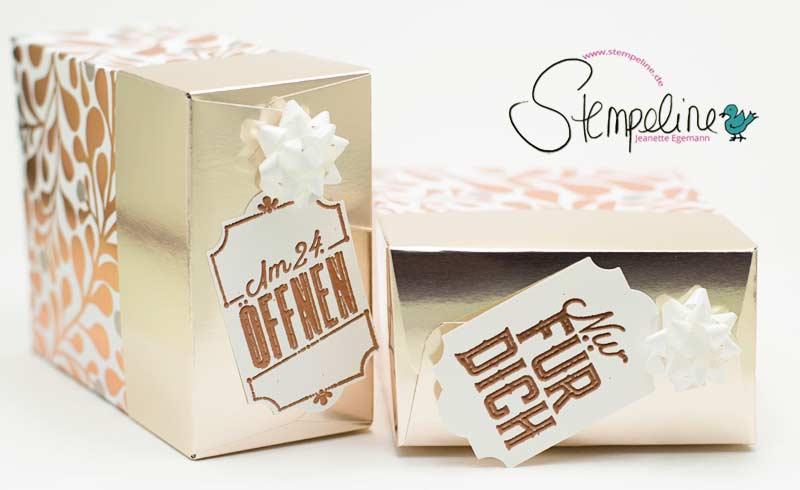 Box mit dem Stanz- und Falzbrett für Geschenktüten