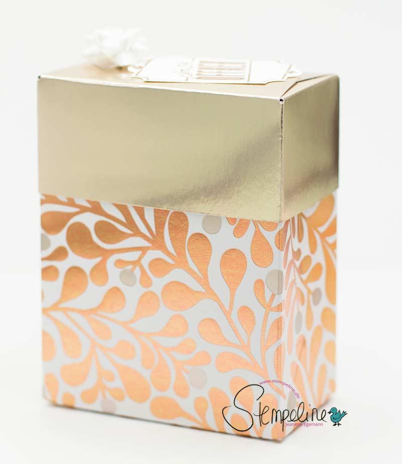 Geschenkbox mit dem Stanz- und Falzbrett für Geschenktüten