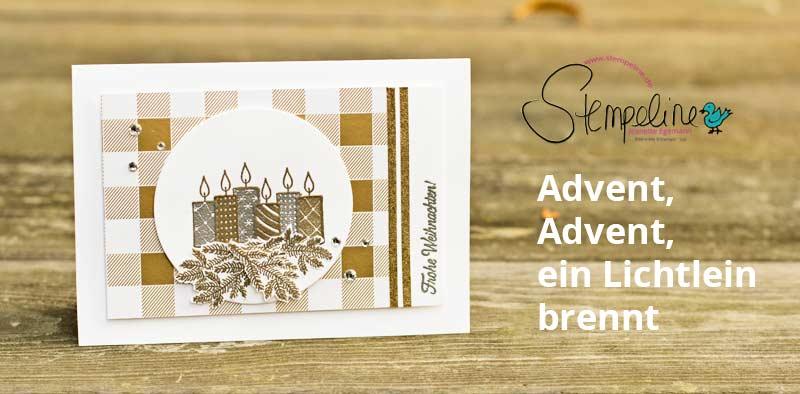 Weihnachtskarte Freude m Advent von Stampin' Up!