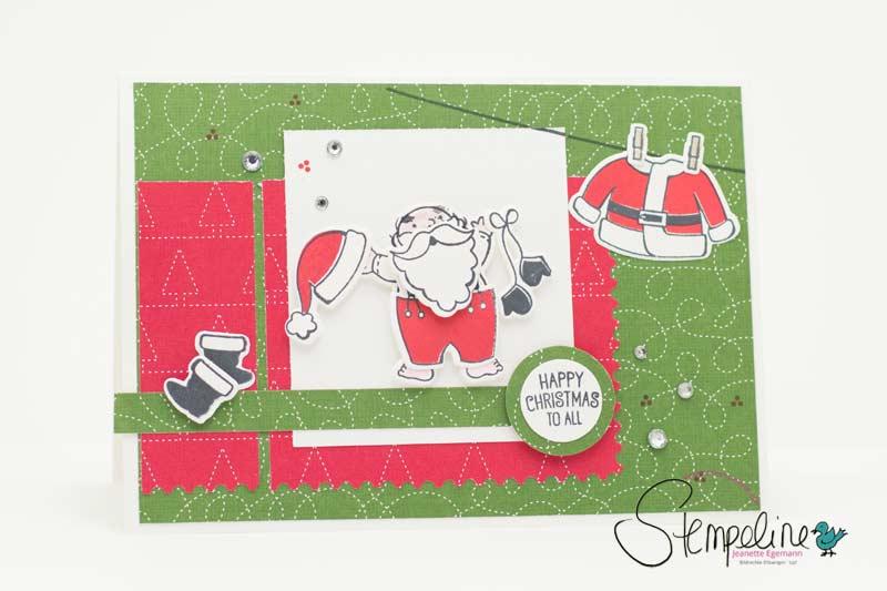 Weihnachtskarte mit Stempelset Santas Suit von Stampin´ Up