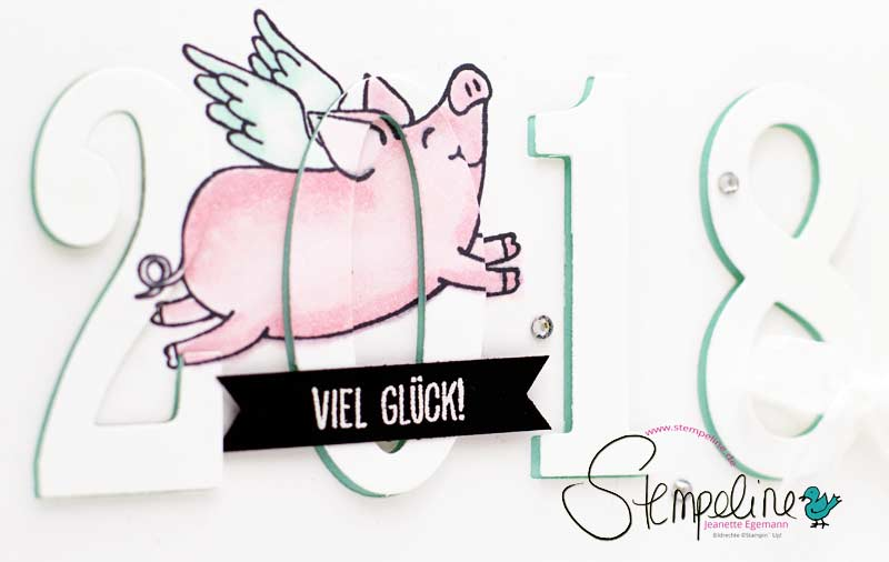 Neujahrskarte Glücksschweinchen Stampin Up Vorschau