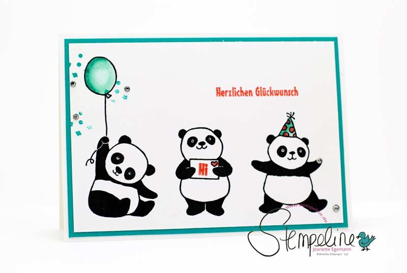 Geburtstagskarte mit Party Pandas von Stampin' Up! aus der Sale-A-Bration 2018