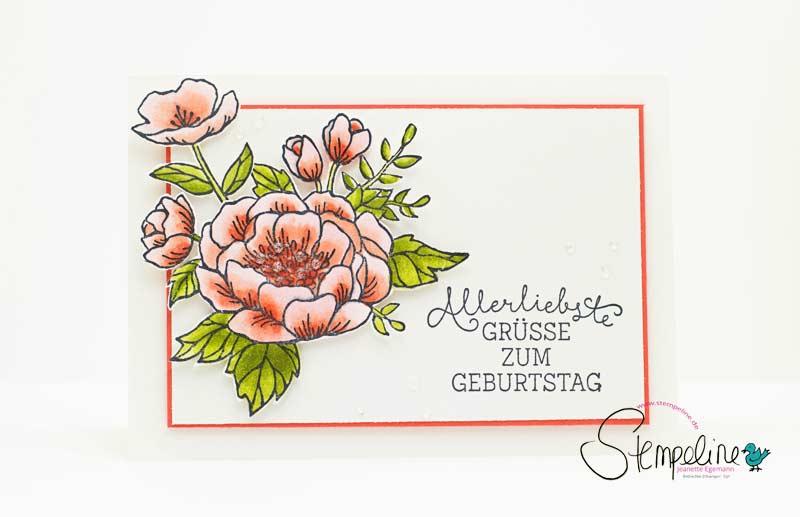 Geburtstagskarte Geburtstagsblumen mit Stampin´ Blends von Stampin' Up!