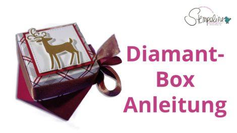 Weihnachtliche Diamant-Box mit dem Stanz- und Falzbrett für Geschenktüten
